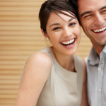 Smiling young love couple together